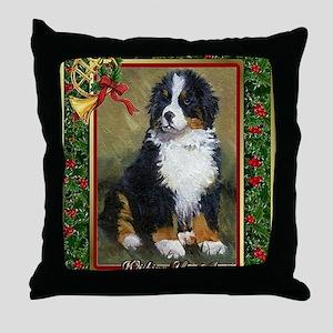 Bernese Mountain Dog Christmas Throw Pillow