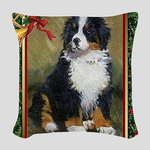 Bernese Mountain Dog Christmas Woven Throw Pillow