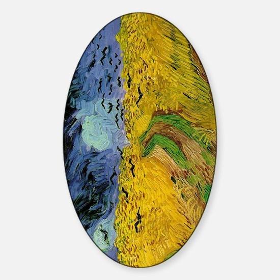 Van Gogh Wheatfield with Crows Sticker (Oval)