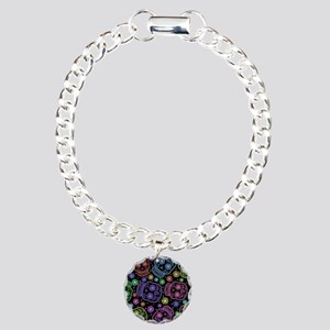 Day Of The Dead Pattern Charm Bracelet, One Charm