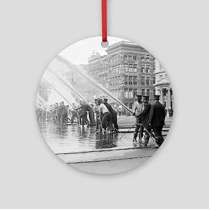 New York City Firemen Round Ornament