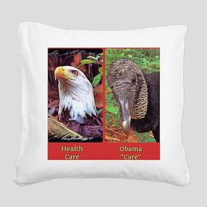 Health care vs Obamacare Square Canvas Pillow