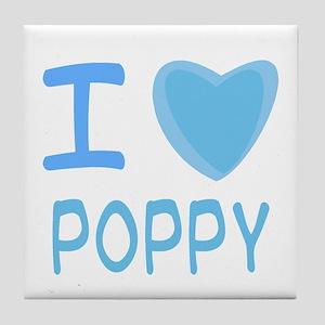 Blue I Heart (Love) Poppy Tile Coaster