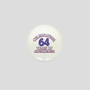 64 years old birthday design Mini Button