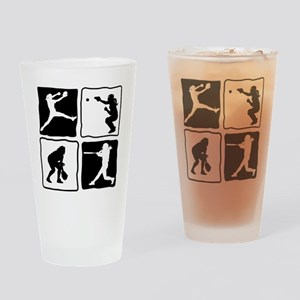 bw 4X pitcher, catcher, batter, fie Drinking Glass