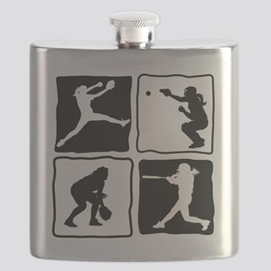 bw 4X pitcher, catcher, batter, fielder Flask