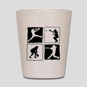 bw 4X pitcher, catcher, batter, fielder Shot Glass