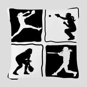 bw 4X pitcher, catcher, batter Woven Throw Pillow