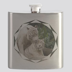 Kiss love peace and joy white tigers lovers  Flask