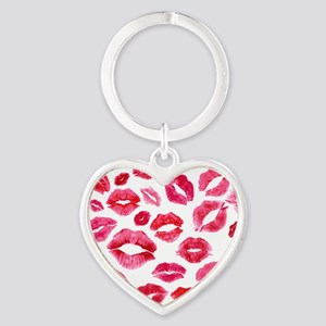 Lipstick Prints Heart Keychain