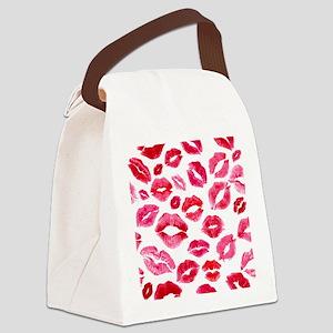 Lipstick Prints Canvas Lunch Bag