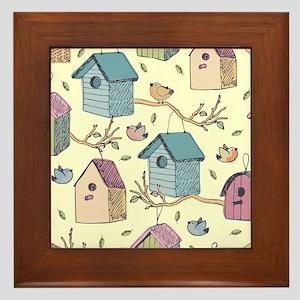 Cute Birdhouses Framed Tile
