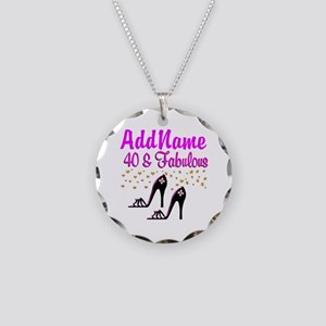 GLAMOROUS 40TH Necklace Circle Charm