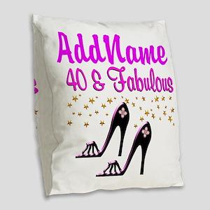 GLAMOROUS 40TH Burlap Throw Pillow