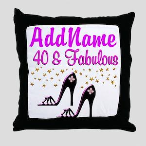 GLAMOROUS 40TH Throw Pillow