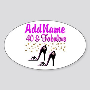 GLAMOROUS 40TH Sticker (Oval)