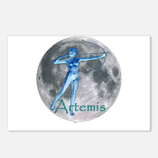 Artemis Moon greek god huntin Postcards (Package o