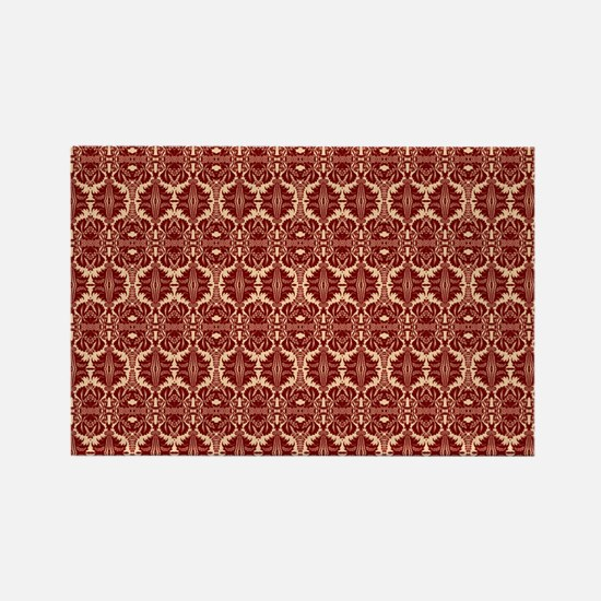 Elegant Vintage Red and Cream Rectangle Magnet