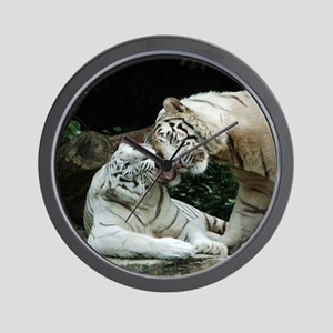 Kiss love and joy White Bengal Tigers - Wall Clock