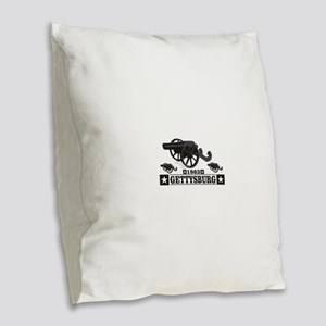 cannons of gettysburg Burlap Throw Pillow
