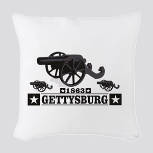 cannons of gettysburg Woven Throw Pillow