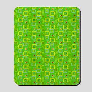 Retro Green Squares Mousepad