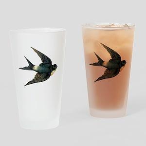 Vintage Swallow Bird Art Drinking Glass