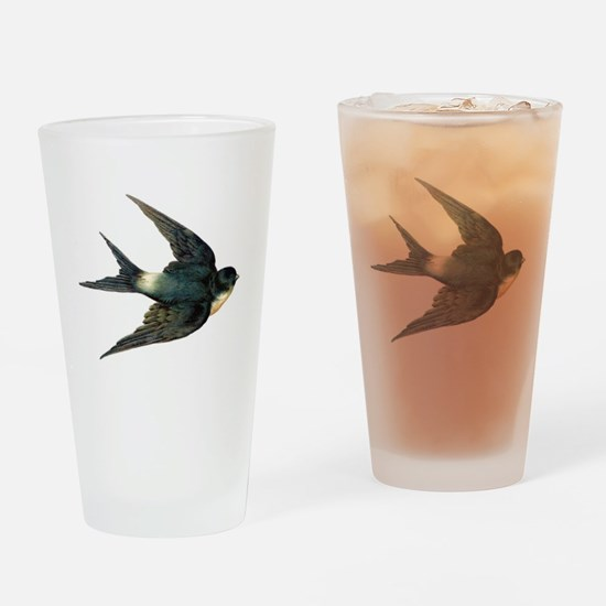 Vintage Swallow Bird Art Drinking Glass
