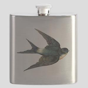 Vintage Swallow Bird Art Flask