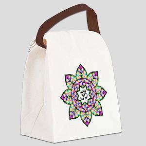 Lotus Om Black Canvas Lunch Bag