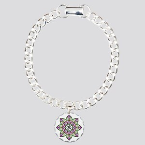 Lotus Om Black Charm Bracelet, One Charm