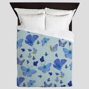 All over Butterfly on Blue Queen Duvet