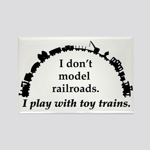 play with trains black Rectangle Magnet