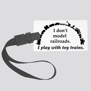 play with trains black Large Luggage Tag