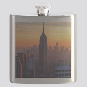 Empire State Building, NYC Skyline, Orange S Flask
