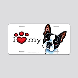 Love My Boston Terrier Aluminum License Plate