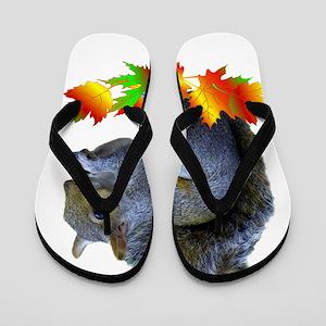 FALL SQUIRREL Flip Flops