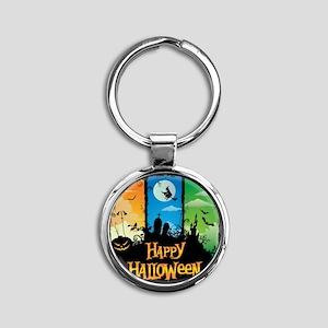 Happy Halloween Round Keychain