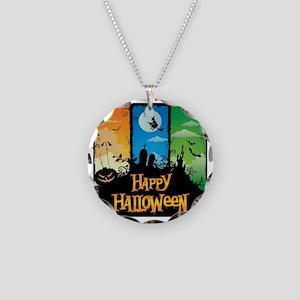 Happy Halloween Necklace Circle Charm
