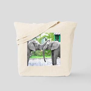 Love Kiss and hug elephants lovers Tote Bag