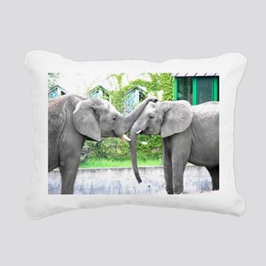 Love Kiss and hug elepha Rectangular Canvas Pillow