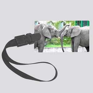 Love Kiss and hug elephants love Large Luggage Tag
