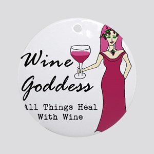 Wine Goddess - All Things Heal With Round Ornament