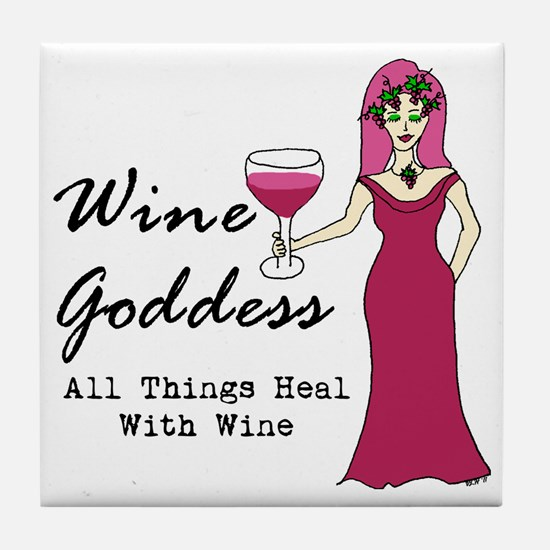 Wine Goddess - All Things Heal With W Tile Coaster