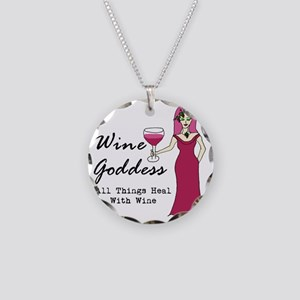 Wine Goddess - All Things He Necklace Circle Charm
