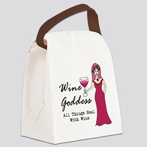 Wine Goddess - All Things Heal Wi Canvas Lunch Bag