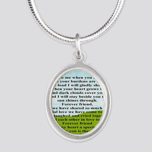 Friendship Silver Oval Necklace