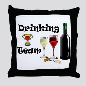 DRINKING TEAM Throw Pillow