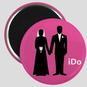 """""""I Do"""" Bride & Groom Pink Magnet"""