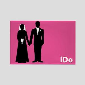 """""""I Do"""" Bride & Groom Pink Rectangle Magnet"""